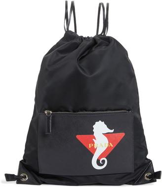 Prada Technical Fabric Drawstring Backpack