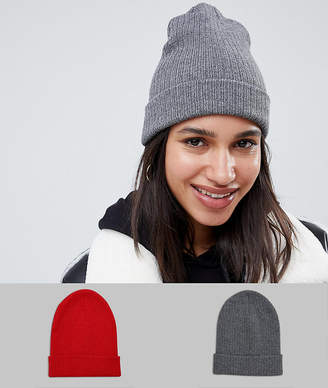c8b1bbc9634 Asos Design DESIGN 2 pack rib beanie in recycled polyester in red and gray