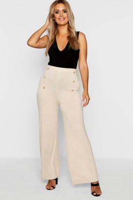boohoo Plus Horn Button Wide Leg Jersey Trouser