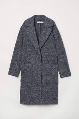 H&M Knit Wool-blend Coat - Blue