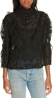 Rebecca Taylor Ruffle Embroidered Silk Top