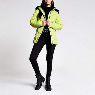 River Island Yellow faux fur hood belted puffer jacket