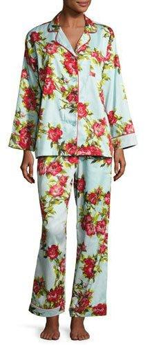 BedHeadBedhead Hibiscus Classic Pajama Set, Light Blue, Plus Size