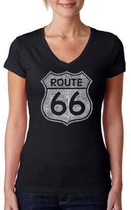 """Pop Culture Los Angeles Pop Art Women's """"CITIES ALONG THE LEGENDARY ROUTE 66"""" V-Neck T-Shirt"""
