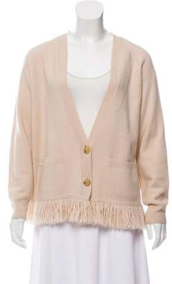 Dries Van Noten Wool Fringe-Accented Cardigan pink Wool Fringe-Accented Cardigan