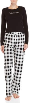 Calvin Klein Two-Piece Checked Fleece PJ Set