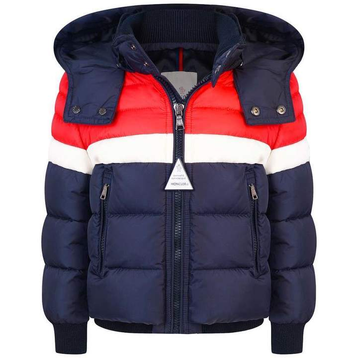 MonclerBoys Navy Striped Down Padded Aymond Coat
