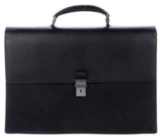 Giorgio Armani Leather-Trimmed Canvas Briefcase