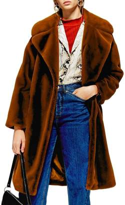 Topshop Bella Velvet Faux Fur Coat