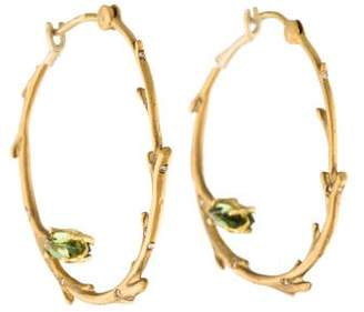 Anthony Nak 18K Diamond & Tourmaline Birch Hoop Earrings