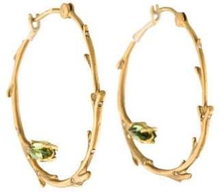 Anthony Nak 18K Diamond & Tourmaline Birch Hoop Earrings