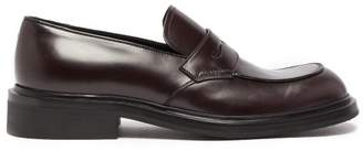 Prada Penny Leather Loafers - Mens - Burgundy