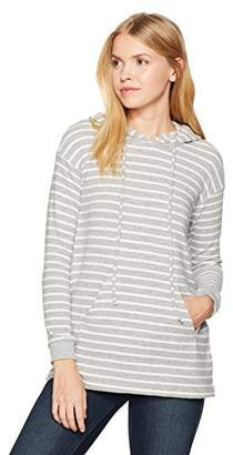 Michael Stars Women's Madison Brushed Stripe V-Neck Long Sleeve Hoodie