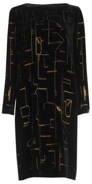 Lafayette 148 New York Cressida Embroidered Velvet Shift Dress