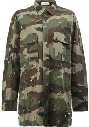 Faith Connexion distressed camouflage print long shirt