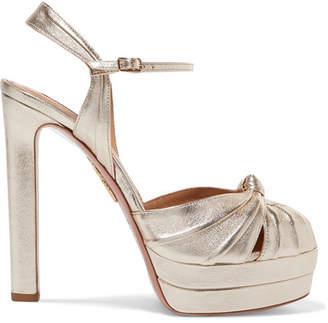 Aquazzura Evita 130 Metallic Leather Platform Sandals