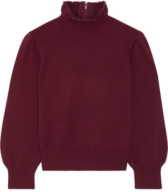 Wool And Cashmere Blend Turtleneck Sweater - Burgundy