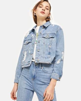 Topshop Fitted Ripped Denim Jacket