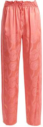 Peter Pilotto High-rise floral-jacquard satin trousers