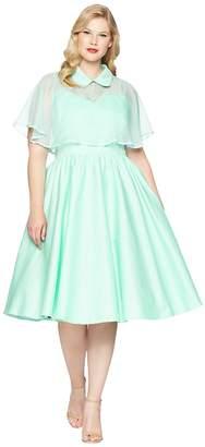 Unique Vintage Plus Size Luna Swing Dress Mesh Capelet Women's Dress