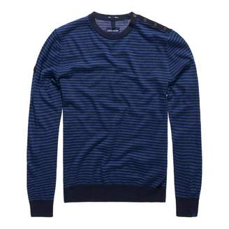 Navy Call Sheet Merino Striped Crew Jumper
