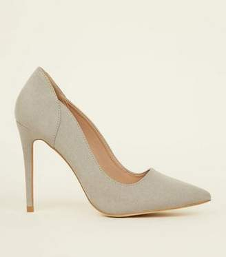 New Look Grey Suedette Scallop Edge Court Shoes