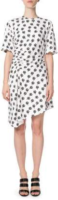 Kenzo Asymmetrical Rose-Print Ruched Short Dress