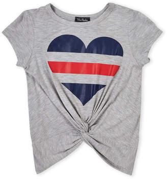 Miss Popular (Girls 7-16) Varsity Stripe Heart Knotted Tee