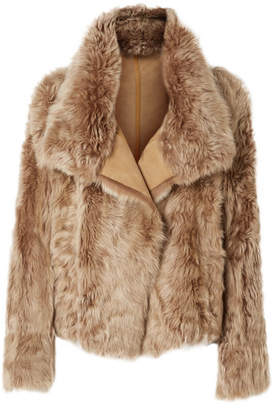 Yves Salomon Reversible Shearling Coat - Camel