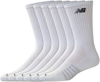 New Balance Mens 6 Pair Pack White Cotton Crew Socks
