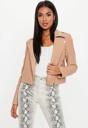 Missguided Tan Ultimate Boxy Faux Leather Biker Jacket, Almond
