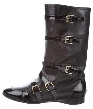 Alexandra Neel Buckle-Accented Mid-Calf Boots