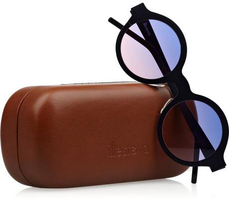 Illesteva Frieda round-frame matte-steel sunglasses
