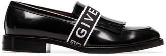 Givenchy black Cruz logo strap leather penny loafers