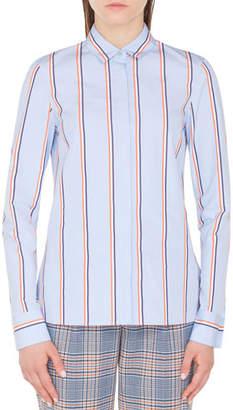 Akris Punto Striped Kent-Collar Button-Front Long-Sleeve Cotton Blouse