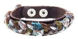 Other Designers Braided Napa Chocolate Leather Bracelet