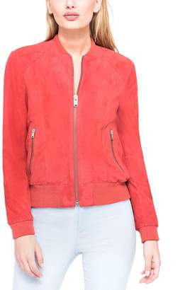 Andrew Marc Leigh Suede Bomber Jacket