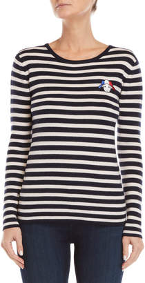 Le Mont St Michel Striped Embroidered Logo Sweater
