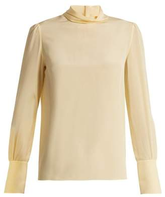 Chloé High Neck Crepe De Chine Blouse - Womens - Pale Yellow