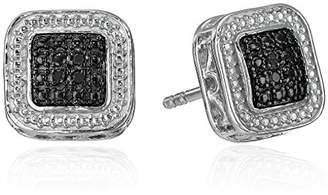Sterling Silver Diamond Square Stud Earrings