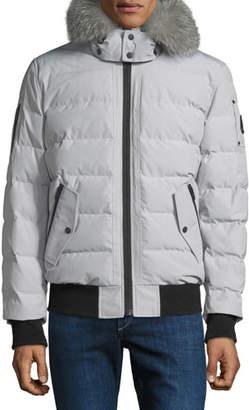Moose Knuckles Men's Glace Bay Fur-Trim Bomber Coat