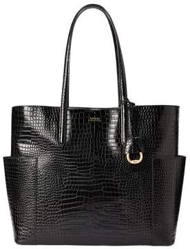 Lauren Ralph Lauren Large Embossed Leather Tote Bag