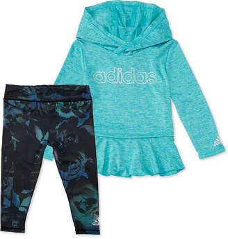 adidas Little Girls 2-Pc. Melange Hoodie & Printed Leggings Set