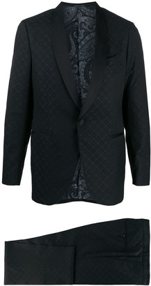 formal patterned two piece suit