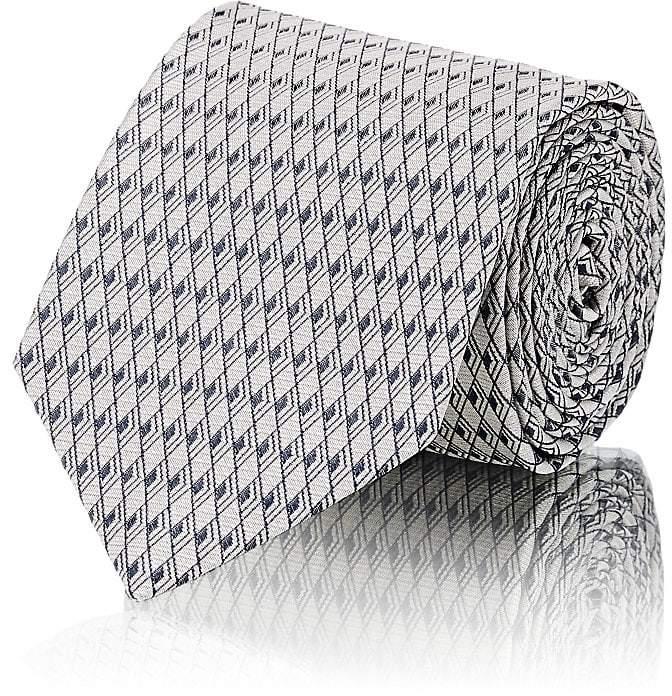 Men's Diamond-Neat-Pattern Silk Necktie