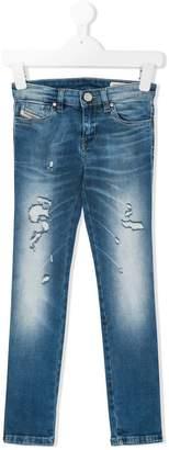 Diesel distressed detail jeans