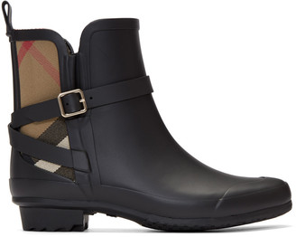 Burberry Black Riddelstone Rain Boots $295 thestylecure.com