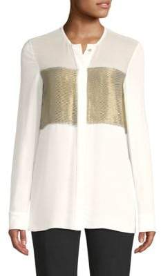 Derek Lam Lame Stripe Silk Blouse