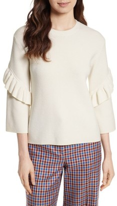 Women's Tory Burch Ashley Ruffle Bell Sleeve Sweater