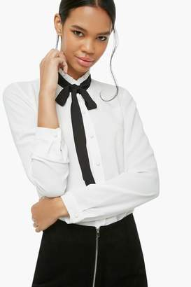 Forever 21 Contrast Tie-Neck Shirt